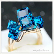 Cocktail Gold Ring Zirconia Engagement Gift Blue Cubic Sapphire CZ Crystal Topaz
