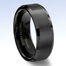 King Will 8mm TUNGSTEN CARBIDE Beveled Edge Comfort Fit Band RING - Size 6.5