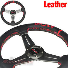 JDM DRIFTING Style LEATHER 6 Bolt 3 Spoke Racing Steering Wheel RED Stitch TITAN