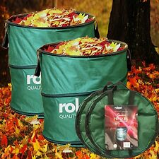 2 x Rolson Garden Pop Up Bin Carry Handles & Tipping Strap Waste Refuse Leaves
