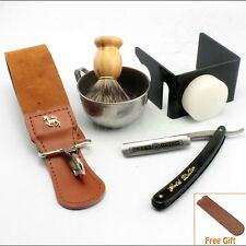 All In Straight Shave Razor Best BADGER Brush Genuine Leather Strop Shaving Kit