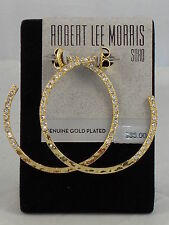 Robert Lee Morris SOHO Hammered Gold Plated Pave' Hoop Earrings RS01220-E01 $35