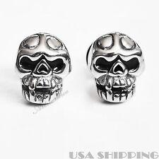 Stainless Steel Skull angry Men's Stud Ear Earring 1 Pair