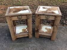 """END /OCCASIONAL TABLE SET / 16"""" x 16"""" / COWHIDE / WESTERN DECOR MADE IN USA"""
