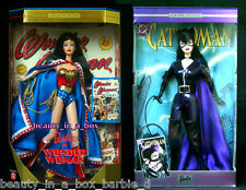 Catwoman Barbie Doll Wonder Woman Super Hero DC Comics 1999 2003 Lot 2 VG