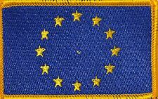 EUROPE (EU) Flag Military Patch With VELCRO® Brand Fastener Gold Border #29