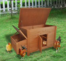 Pawhut Backyard Wooden Chicken Coop Hutch Poultry Nesting Cage Hen Habitat House