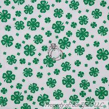 BonEful Fabric FQ Cotton Quilt White Green 4H Club Leaf Clover Home School Farm