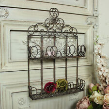 Brown metal wall mounted shelf unit shabby vintage chic bathroom kitchen storage