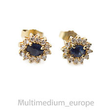 585 14ct Gold Diamant Ohrringe Safir Ohrstecker earring diamond saphir e
