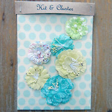 6 x shabby chic paper flower topper embellishments card making, turquoise yellow