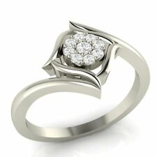 14k White Gold 0.08 ct 100% Certified Natural Round Diamond Engagement Ring