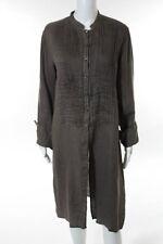 120% Lino Brown Linen Long Sleeve Button Front Shirt Dress Size European 44