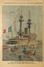 Formidable Cuirassé  MARINE NATIONALE  RADE DE VILLEFRANCHE  1896 ILLUSTRATION