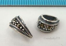 1x Sterling Silver Marcasite Pendant Slide Bail Connector Bead 4.3mm hole #2317