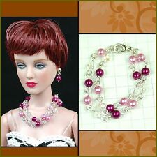 "handmade Tonner Tyler 16"" doll beaded jewelry set necklace+earring for Tonner"