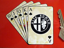 "ALFA ROMEO Royal Flush Playing Cards Car STICKER 4"" Giulia Mito Giulietta Spyder"