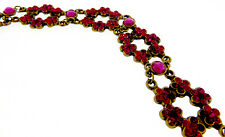 Michal Negrin NWT Open Flower 6 Station Raspberry Interlocking Bracelet-7""
