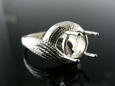 5520 RING SETTING STERLING SILVER, SIZE 7.5, 9.5 MM ROUND STONE
