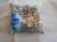 HANDMADE 'BROOCH' PILLOW w/BUTTERFLY PIXIE BROOCH