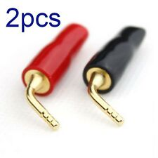 2x 24k Gold Plated Speaker Cable Wire Pin 2mm Banana Plug Screw Lock Connectors