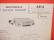 1972 MOTOROLA CAR AUTO PUSHBUTTON AM-FM RADIO SERVICE SHOP MANUAL MODEL FM212A