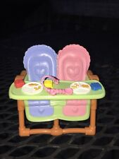 Twin Double Brown Feeding High Chair Fisher Price Loving Family Dollhouse
