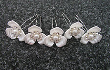 5 x Large White Silver Diamante Flower Hair Pins Bridal Vintage 1920s 1930s Z48