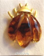 Honey Simulated Amber Gold Plated Beetle Pin Brooch Bug Bumble Bee Brown Insect