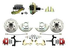 "GM 2"" Drop Performance Disc Brake Kit, Red PC Calipers, 9"" Delco Booster Kit"