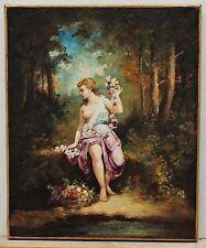 """Quadro antico dipinto ad olio su tela """"Flora"""" XIX secolo scuola di Barbizon"""
