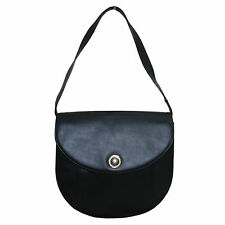 LANVIN VINTAGE BLACK LEATHER SHOULDER BAG
