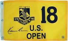 Kevin Costner Autographed Tin Cup 1996 US Open Oakland Hills Pin Flag ASI Proof