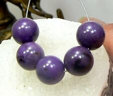 5 RARE 100% NATURAL UNTREATED AFRICAN GEMMY PURPLE SUGILITE ROUND BEADS 10mm