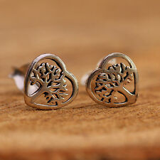 Sterling Silver Tree of Life Heart Studs Earrings Open Details Handcrafted w Box