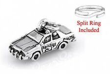 STERLING SILVER POLICE SQUAD CAR CHARM WITH ONE SPLIT RING
