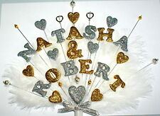 Double name , beads and feathers  Engagement or Wedding Heart Cake Topper.