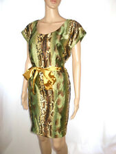 Womens New Design Vtg Snake Print Cocktail Evening Party Belt Dress One sz AE70