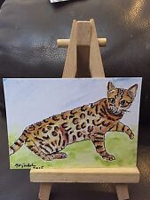 ACEO Art Card Bengal Cat Profesional Print  Of Original Watercolour Painting
