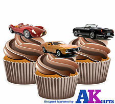 Vintage Sports Car Mens Boy Birthday Party 12 CupCake Toppers Edible Decorations