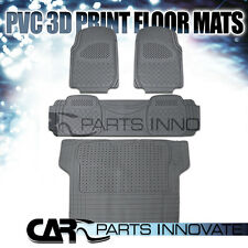 4PC FRONT / REAR / CARGO GRAY PVC RUBBER 3D PRINT FLOOR MATS for CAR TRUCK SUV
