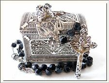 SUPERB 1870's COLONIAL FILIGREE SILVER ROSARY & TRUNK BOX CASE LOCKET ! SEE MORE
