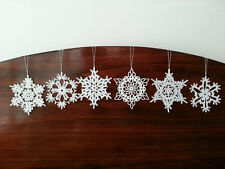 New White Crochet Snowflake Ornaments Christmas Tree and Home Decor