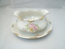 Vintage Warwick ROSEMONT #990 Gravy Boat w/Attached Underplate USA Floral Gold