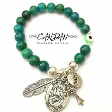 Evil Eye Bracelet Pray For Us Saint George Believe Cross Angel Feather Charms