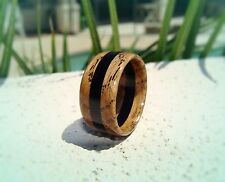 Jack Daniels Charred Whiskey Barrel and Ebony Wood Ring ~ Unisex ~ Handmade