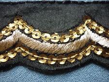 Galon RÉTRO  noir vieil or feston / vintage  trim// N°156