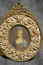 1850s RARE VICTORIAN SIGNED ANTIQUE MINIATURE PORTRAIT PAINTING OF WOMAN 3x4""