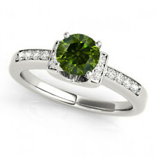 0.45 Ct Fancy Green Diamond SI2 Solitaire Promise Ring Stylish 14k White Gold