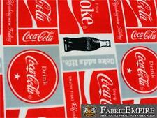 """Polar Fleece Fabric Print COCA COLA BOXED 60"""" Wide Sold by the yard S-622"""